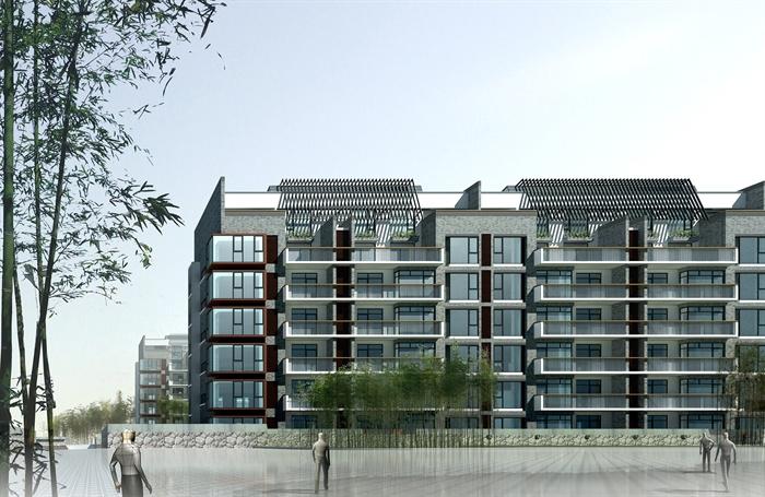 某现代风格小高层住宅楼建筑设计3d模型,psd效果图