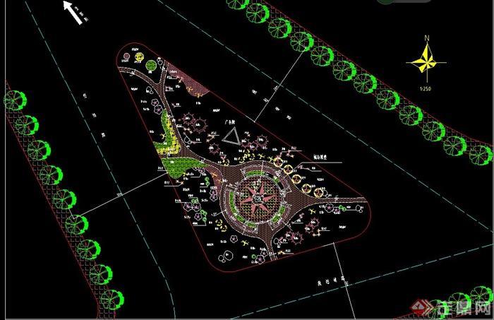道路交叉口交通岛提示绿化CAD图[原创]安装cad2012不到设计找图片