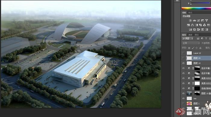 现代某多层体育馆建筑设计3dmax模型+psd效果图[原创