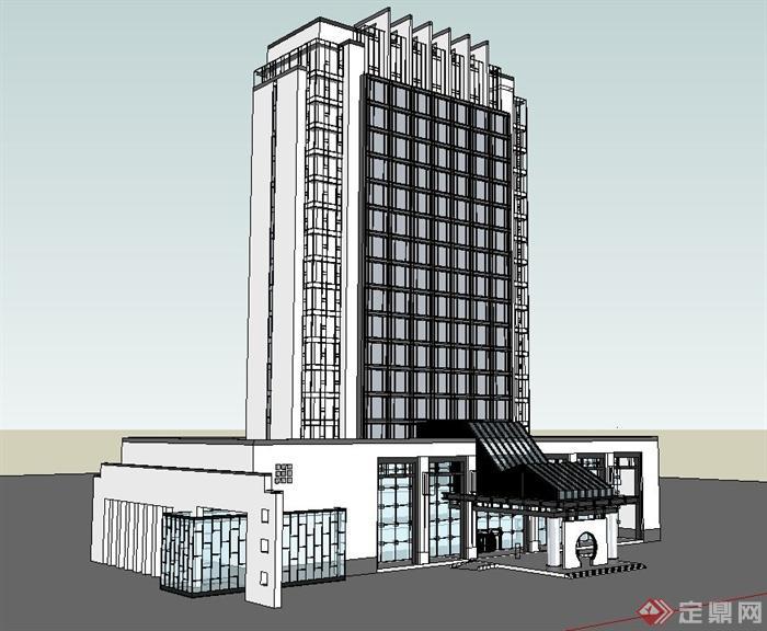 中式酒店独栋高层建筑设计SU方案[原创]建筑设计单价模型是怎么定的图片