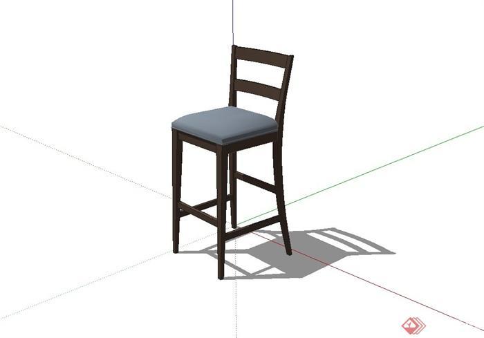 现代风格酒吧吧台椅子设计su模型