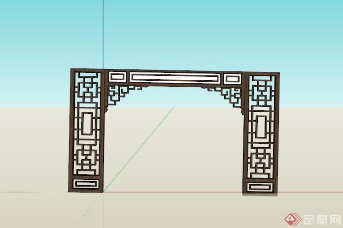 某古典中式镂空门框su模型
