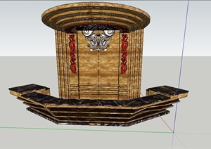 酒店大厅收银台与背景墙设计SU(草图大师)模型
