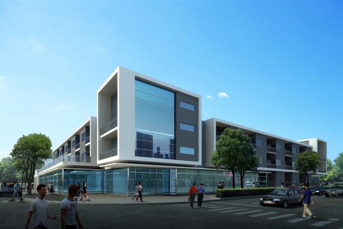 现代三层办公楼3d模型 效果图[原创]