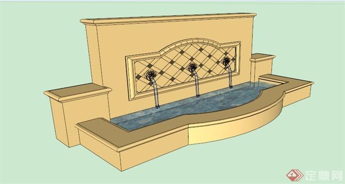 某欧式喷水水池景观su模型