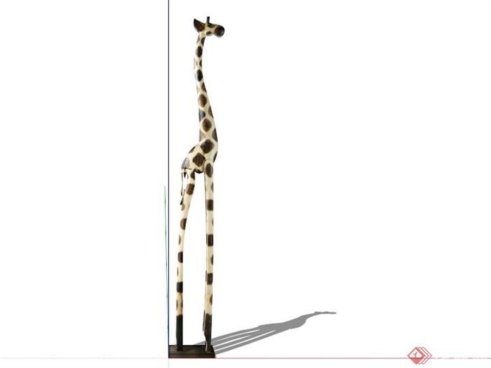 现代长颈鹿动物雕塑小品su模型(3)