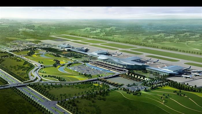 现代某飞机场建筑设计3dmax模型+psd效果图[原创]