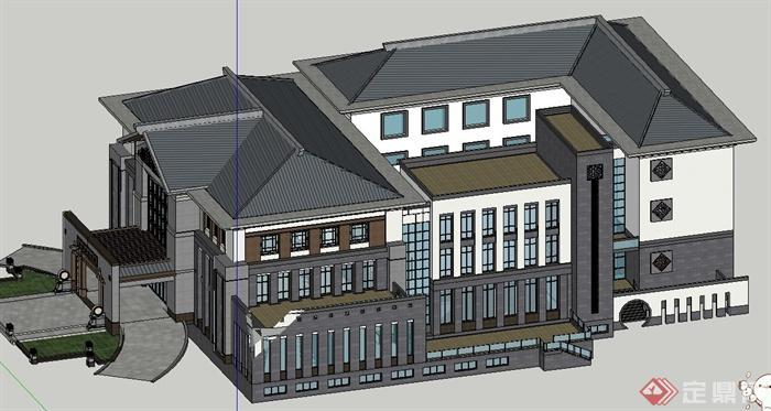 中式多层会所建筑设计su模型(1)