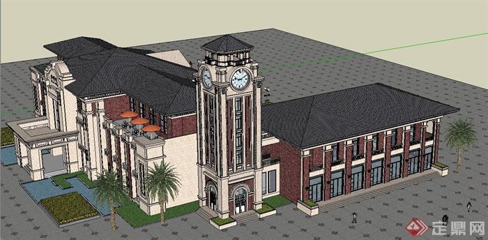 欧式风格两层售楼处会所建筑设计su模型(2)