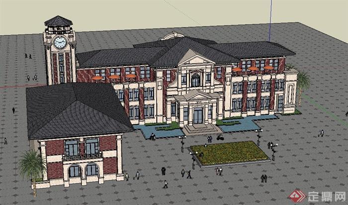欧式风格两层售楼处会所建筑设计su模型