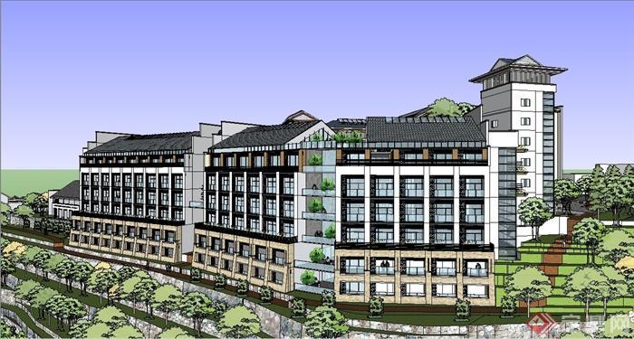 中式山地酒店别墅建筑设计su模型(1)图片