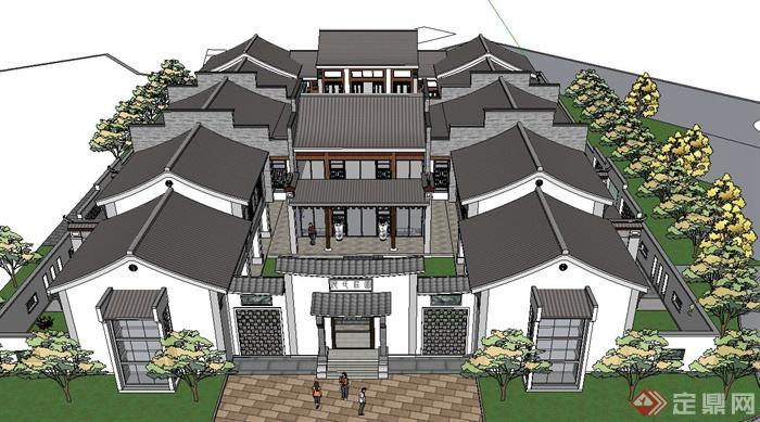 古典中式两层组合四合院别墅建筑设计su模型