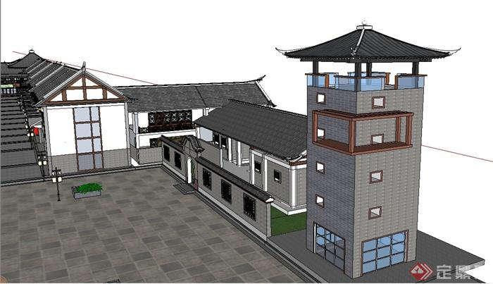 古典中式两层商业街建筑设计su模型