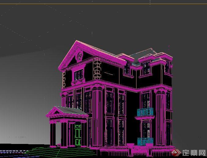 多层欧式风格洋房别墅建筑设计3dmax模型[原创]