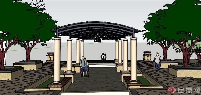 某欧式休闲廊架小品设计SU模型,该设计风格为欧式设计风格,廊架柱为石材,廊架顶为铁艺,有廊架坐凳,,模型制作美观详细,细节部分制作精致,有材质贴图,具有一定参考使用价值,欢迎下载使用。