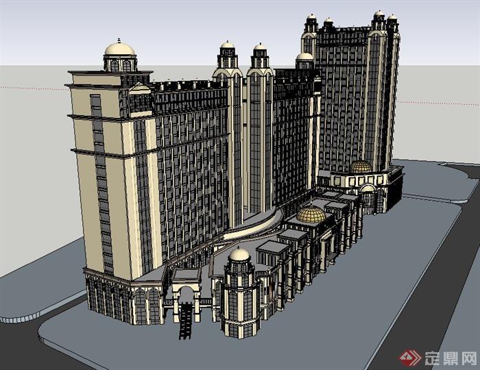 欧式风格商业街高层建筑设计su模型