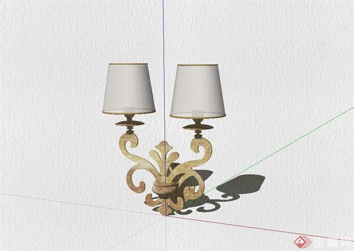 欧式壁灯设计su模型(1)