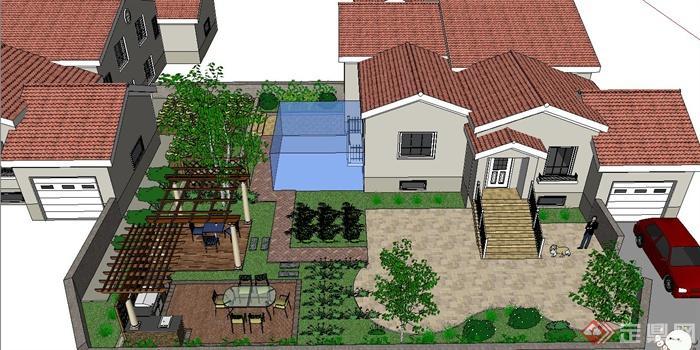 单层别墅庭院小花园景观设计su模型(1)