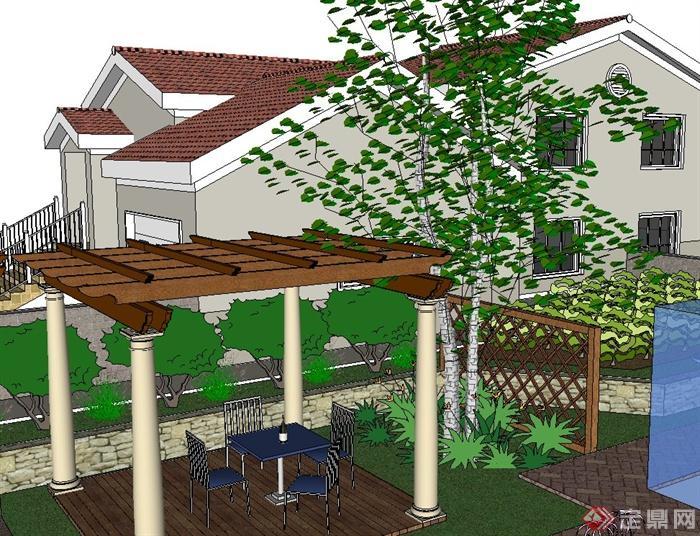 单层别墅庭院小花园景观设计su模型[原创]