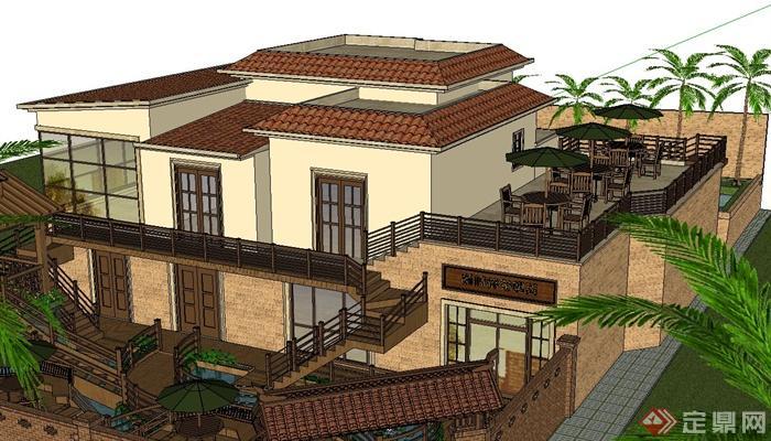 某原始别墅庭院小花园景观设计su模型[原创]