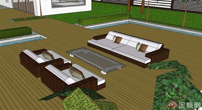 某私家别墅屋顶花园景观规划设计SU模型