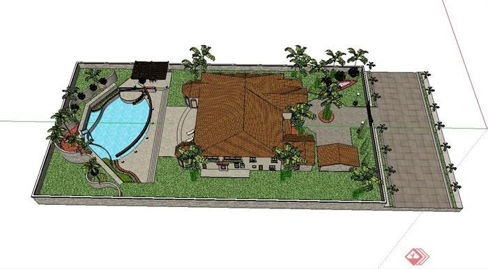 别墅庭院小花园设计su模型(1)