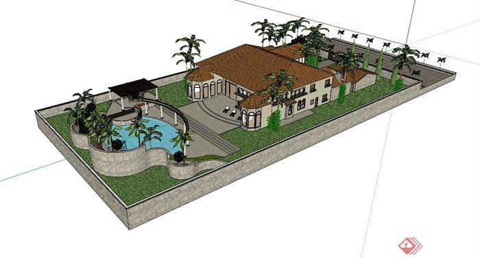 别墅庭院小花园设计su模型[原创]
