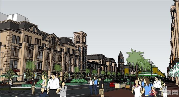 欧式某商业街综合建筑设计su模型(4)图片