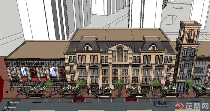 欧式某商业街综合建筑设计su模型(3)图片