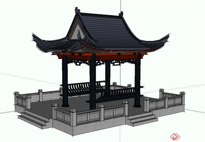 古典中式四角歇山亭设计su模型图片