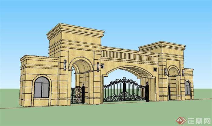 某欧式风格住宅大门设计su模型[原创]