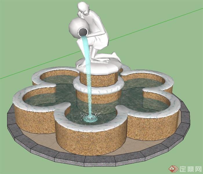 人物雕塑圆形水池设计su模型(1)