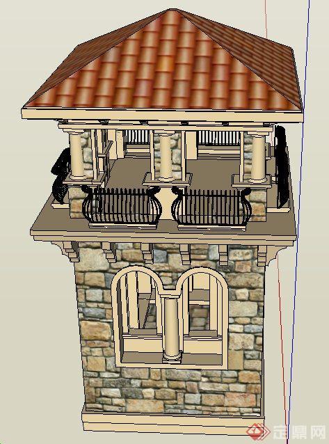 欧式两层塔楼设计su模型图片