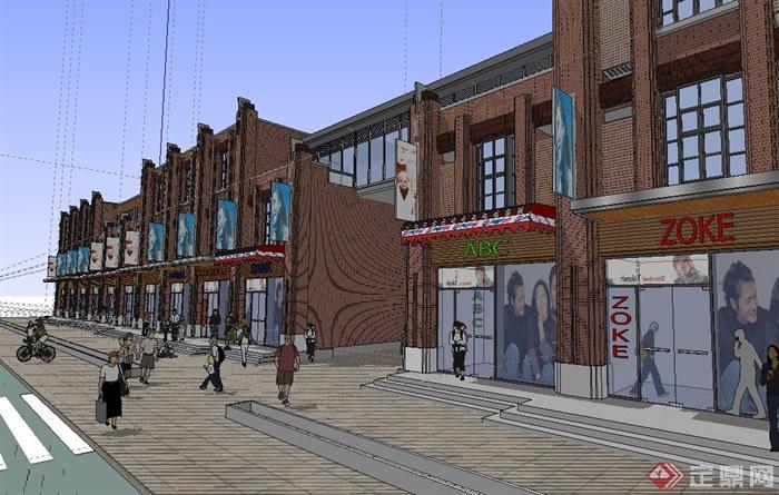 欧式沿街三层商业建筑设计su模型(3)
