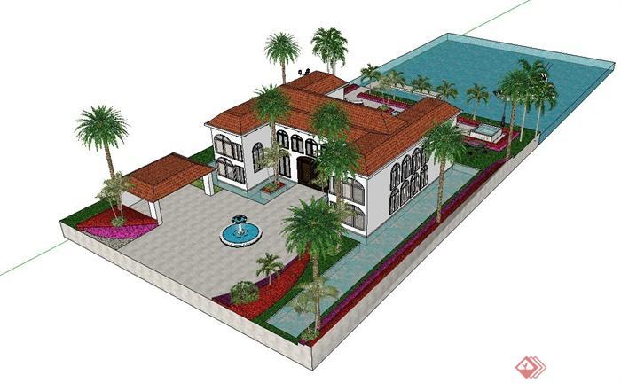 某歐式別墅,庭院小花園設計su模型[原創]