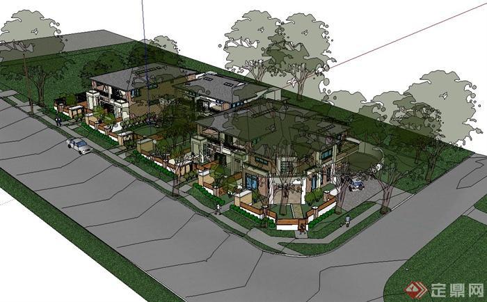 某联排别墅建筑,别墅庭院小花园设计su模型[原创]