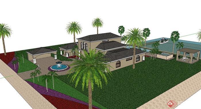 某山地私家别墅建筑,庭院小花园设计su模型[原创]