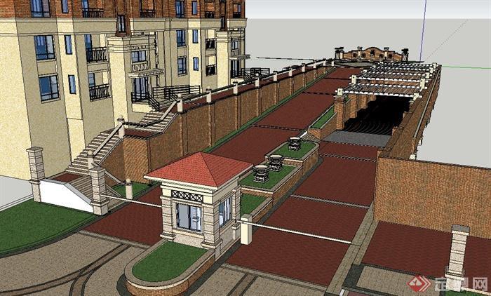 欧式风格住宅小区门卫入口设计su模型(2)