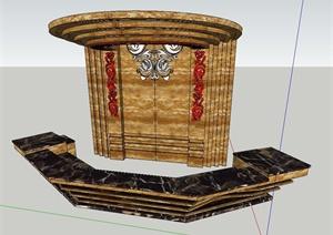 欧式风格酒店吧台与背景墙设计SU(草图大师)模型
