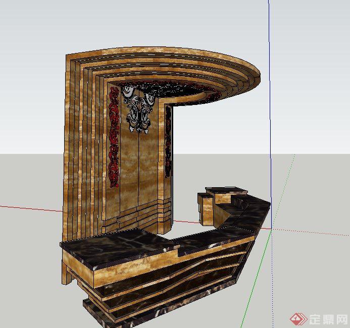 欧式风格酒店吧台与背景墙设计SU模型