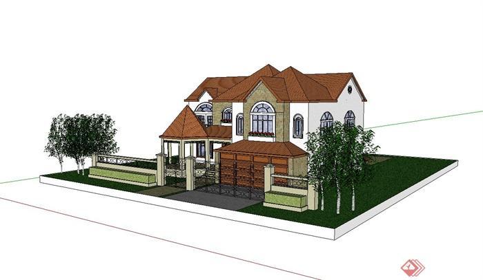 某欧式含庭院别墅建筑设计su模型[原创]