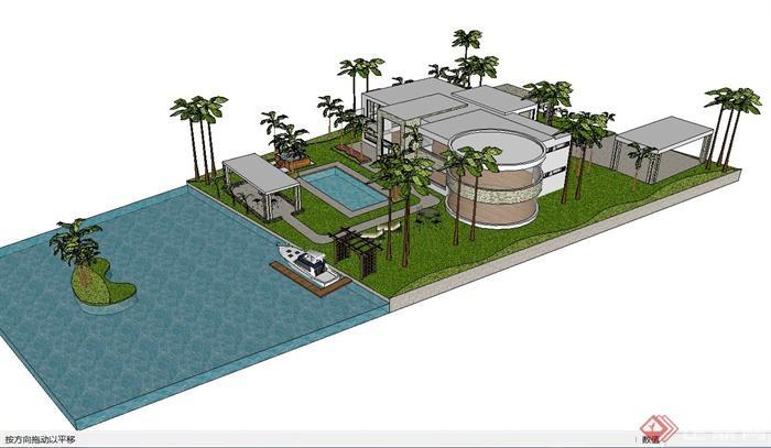 现代简约别墅建筑,庭院小花园设计su模型(1)