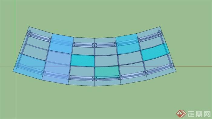 某欧式弧形玻璃顶廊架su模型(2)