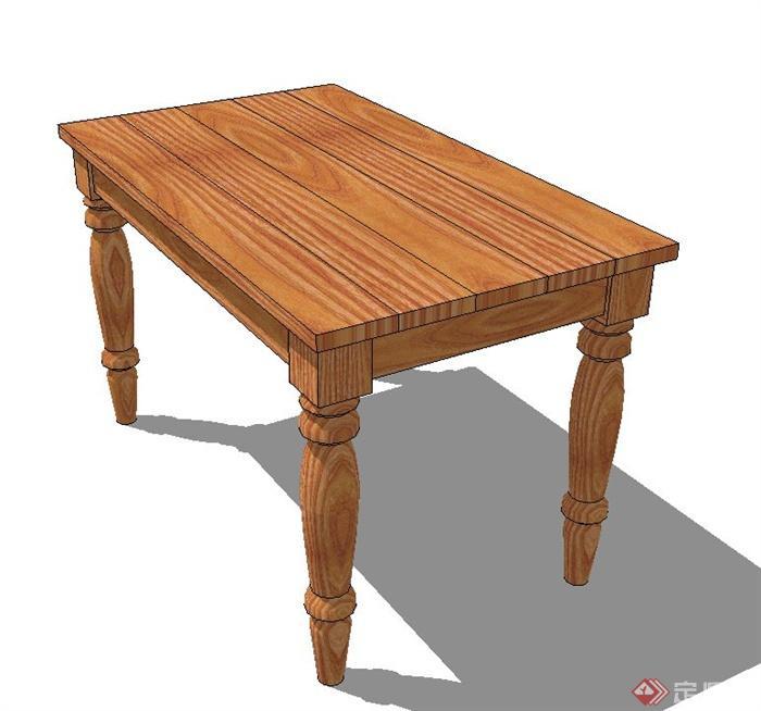 木质长方形桌子设计su模型(1)