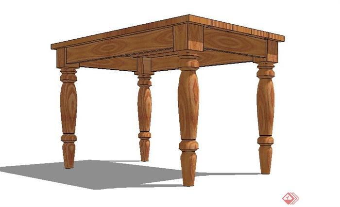 木质长方形桌子设计su模型(3)