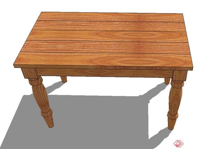 木质长方形桌子设计su模型