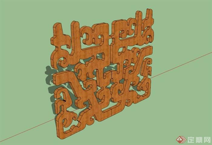 某空中式雕花雕塑小品su模型(1)