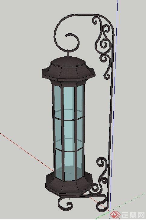 欧式风格铁艺壁灯设计su模型(1)