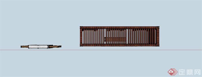 某现代中式木条镂空景墙su模型
