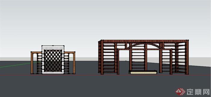 某现代中式木条镂空景墙su模型(3)